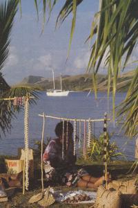 Fiji Jewellery Market Trader Seller Awaits Fijian Ship Passengers Postcard