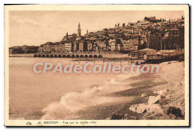 Old Postcard Menton View On The Old City