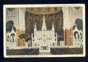 Atlantic City, New Jersey/NJ Postcard, Interior Of St Nicholas Catholic Church