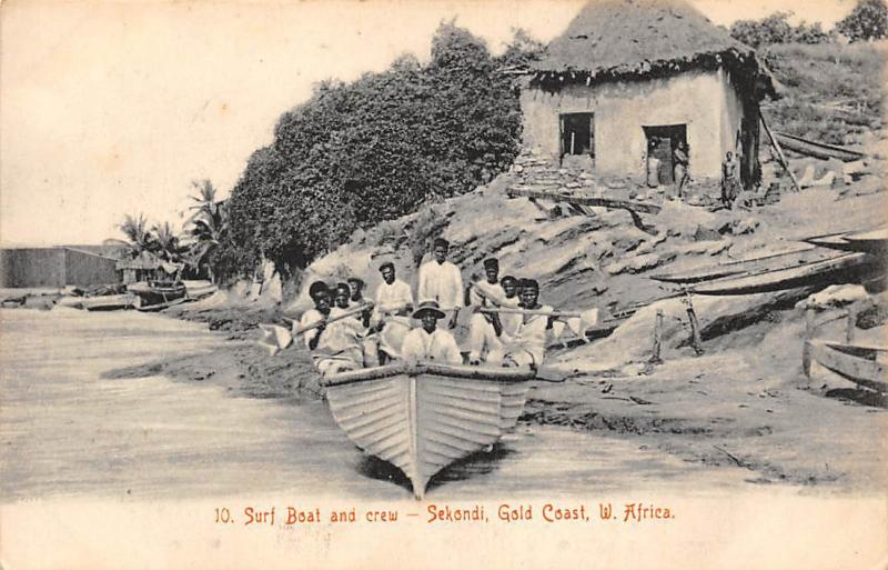 Ghana Gold Coast Surf boat and crew Sekondi postcard