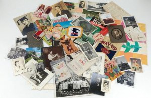 Ephemera Junk Drawer Lot 81 Items Photos Postcards Maps Patches Random Paper VTG