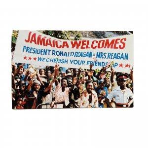 Jamaica President Ronald Reagan & Mrs Reagan 1982 Visit Postcard