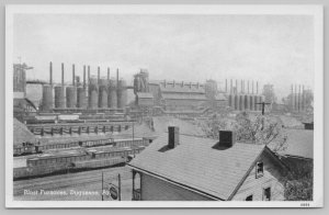 Duquesne Pennsylvania~Blast Furnaces~Long Line of Smokestacks c1920 B&W PC