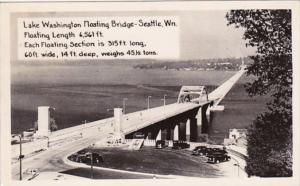 Washington Seattle Lake Washington Floating Bridge 1947 Real Photo