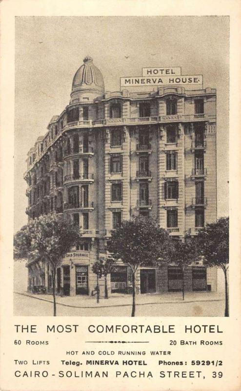 Cairo Egypt Hotel Minerva Hotel Street View Antique Postcard K7876339