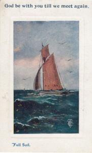 God Be With You Till We Meet Again Full Steam Ahead Antique Shipping Postcard