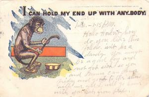 Comic Pun~I Can Hold My End Up With Anybody! Monkey Brags~Has Own Tail~1905 PC