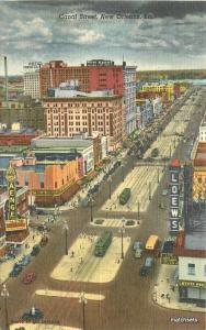 Birdseye View 1940s New Orleans Louisiana Canal Street linen Teich 8358