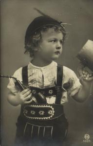 Curly Young Edwardian Boy in Lederhosen Smoking Tobacco Pipe (1910) RPPC