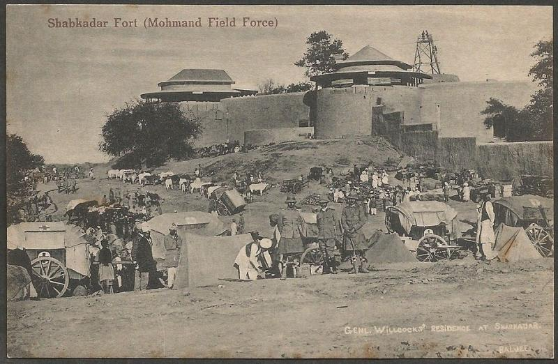 Mohmand Field Force 1908 Shabkadar Fort vintage postcard India
