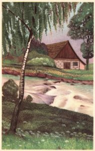 Vintage Postcard Nature View House Stream & Trees Artwork