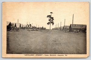 Military~Augusta Georgia~Camp Hancock Artillery Street~Car~WWI c1917 Sepia