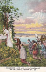 The First Mass celebrated, The main altar of St. Bernard's Church, Quebec, Ca...