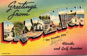 Florida Bradenton Greetings Large Letter Linen 1961