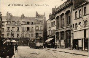 CPA CHERBOURG - La Rue de la Fontaine et la Poste (128194)