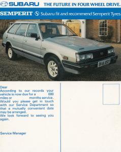 Subaru Semperit Car Vintage Advertising Postcard