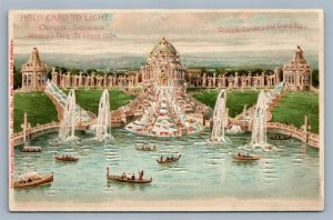 HOLD TO LIGHT 1904 WORLD FAIR ST.LOUIS MO ANTIQUE POSTCARD HTL GRAND BASIN