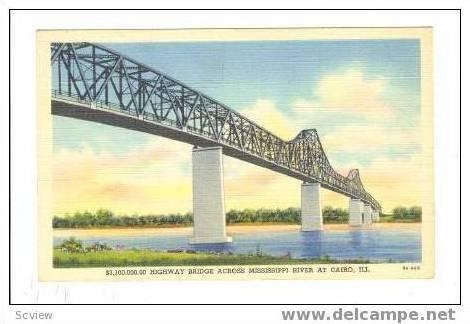 Highway Bridge, Mississippi River, Cairo, Illinois, 30-40s
