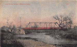 E74/ Minerva Ohio Postcard Carroll Co 1910 Line Street Railroad Bridge 5