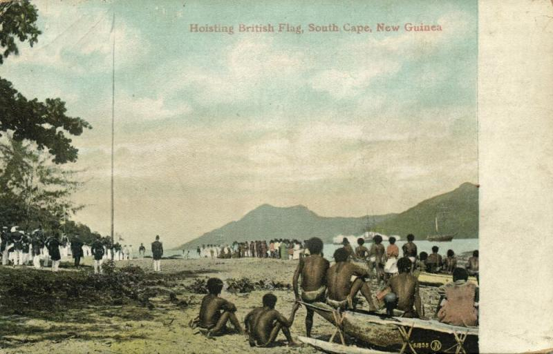 papua new guinea, SOUTH CAPE, Hoisting the British Flag, Native Boys (1910s)