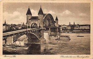 Bonn am Rhein Rheinbrucke von Beuel Geschen Bridge Boats Postcard