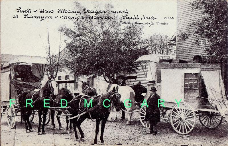 1910 Palmyra Indiana Postcard: Stagecoaches Exchanging Horses - Rare!