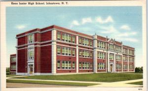 JOHNSTOWN, New York  NY    KNOX JUNIOR HIGH SCHOOL  ca 1940s Linen Postcard