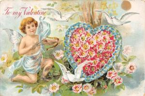A3/ Valentine's Day Love Holiday Postcard c1910 Willoughby Ohio Cupid Flower 3