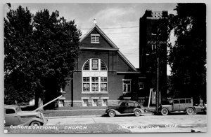 Sheldon Iowa~Congregational Church (United Church of Christ) RPPC 1920s-30s Cars