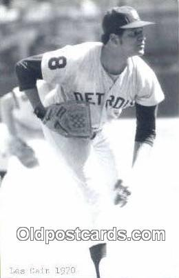 Les Cain Baseball Postcard Detroit Tigers Base Ball Postcard Post Card  Les Cain
