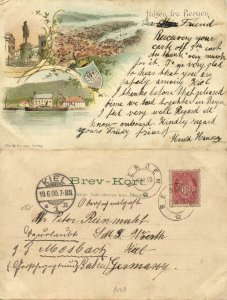 norway norge, BERGEN, Multiview Panorama, Holbergs Statuen (1900) Postcard