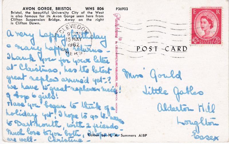 Post Card Somerset BRISTOL Avon Gorge