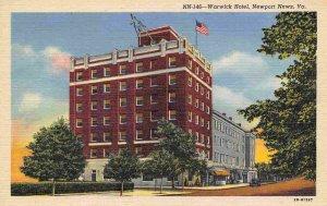 Warwick Hotel Newport News Virginia 1940s linen postcard