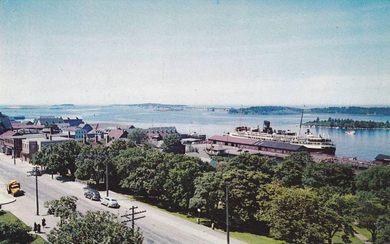 Bird's-eye View of Yarmouth Harbour, Ferry Boat, Yarmouth, Nova Scotia, Canad...