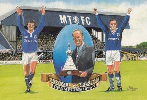Macclesfield Football Club 1997 Sammy McIlroy Champions Painting Postcard