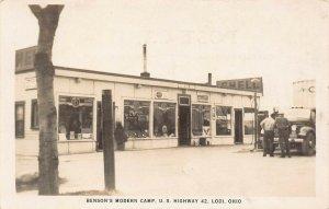 LP73  Lodi  Ohio RPPC Postcard  Benson's Modern Camp Hwy 42 Gas Station Roadside