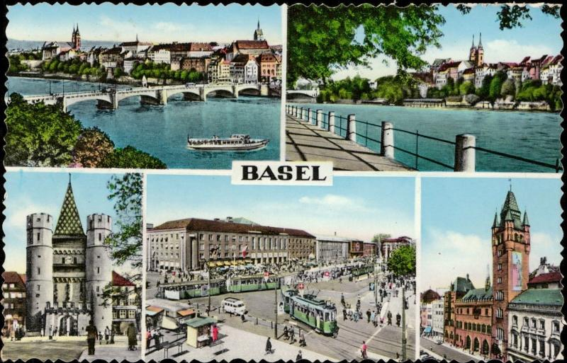 Germany Basel multi view tramvay boat ship bridge