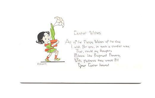 E Weaver, Girl with Lily and Poem, Easter Greetings, 2376 16 Des, Made in USA