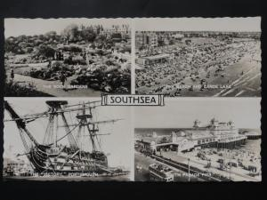 Hampshire SOUTHSEA 4 Image Multiview inc HMS Victory c1956 by Valentine's