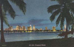 Florida Miami Skyline At Night 1953 Curteich