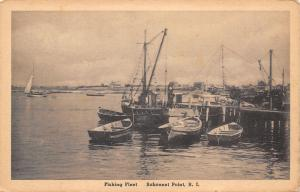 Sakonnet Point Rhode Island~Fishing Fleet at the Dock~Buildings~1915 Albertype
