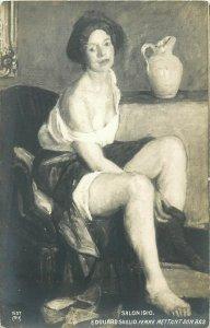 Femme mettant son bas - E. Douard Saglio risque art postcard Salon 1910