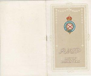 R.M.S.P. Company Ocean Liner SESNA Passenger List , 1916