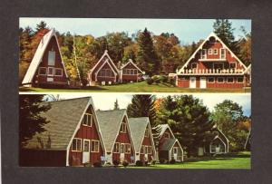 NH Red Sleigh Motor Court Cabins Plymouth New Hampshire Postcard PC