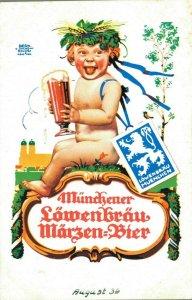 Germany - Münchner Löwenbräu Märzen Bier Beer Advertisement Postcard 03.85
