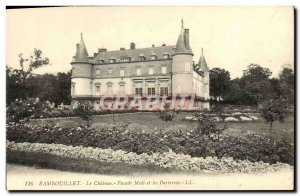 Old Postcard Rambouillet Chateau Facade noon and flower beds