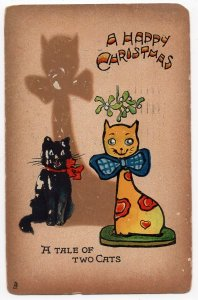 HP082221  Vintage Tuck Shadowgraph Christmas Postcard No 507 Tale of Two Cats