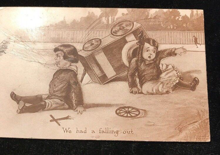 Circa 1910's We've had a Falling Out Comic Postcard Soap Box Car