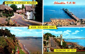 England Isle Of Wight Shanklin Multi VIew Pier Old Village Cliff Walk and Beach