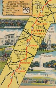 Map (on postcard) of Scenic Route US15 through Pennsylvania Maryland & Virginia